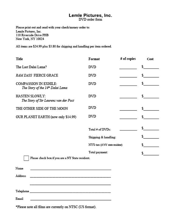 Purchase DVDs – Money Order Form